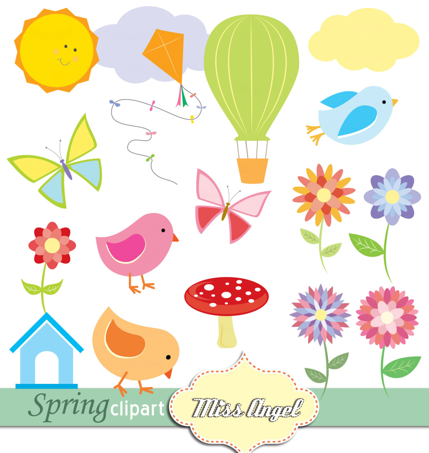 Glitch clipart cute spring Spring butterflies BORDERS PAGE birds
