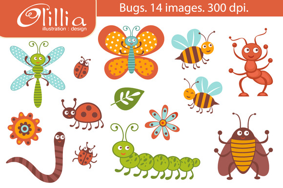Bug clipart cute Collection digital bug clipart Cute