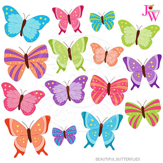 Beautiful clipart purple butterfly JWIllustrations by Beautiful by Cute