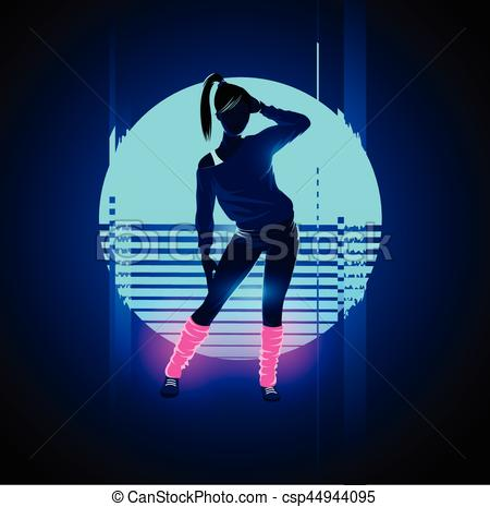 Glitch clipart silhouette Glitch glowing Dancer 1980's Retro