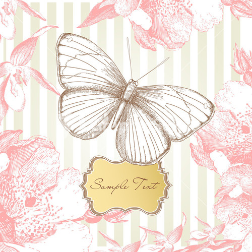 Glitch clipart spring butterfly Stock Vintage Vintage Butterfly Card