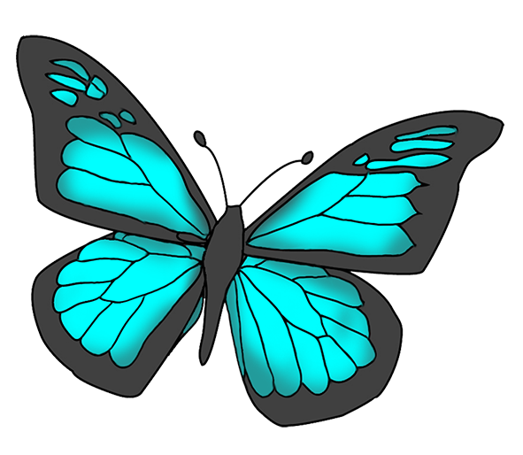 Butterfly clipart colored Black  and Blue clipart