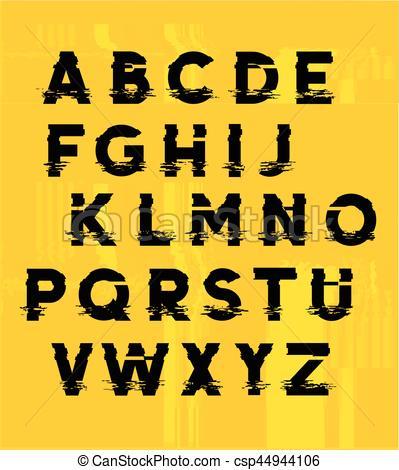 Glitch clipart yellow Lettering Glitch displaced Glitch Lettering
