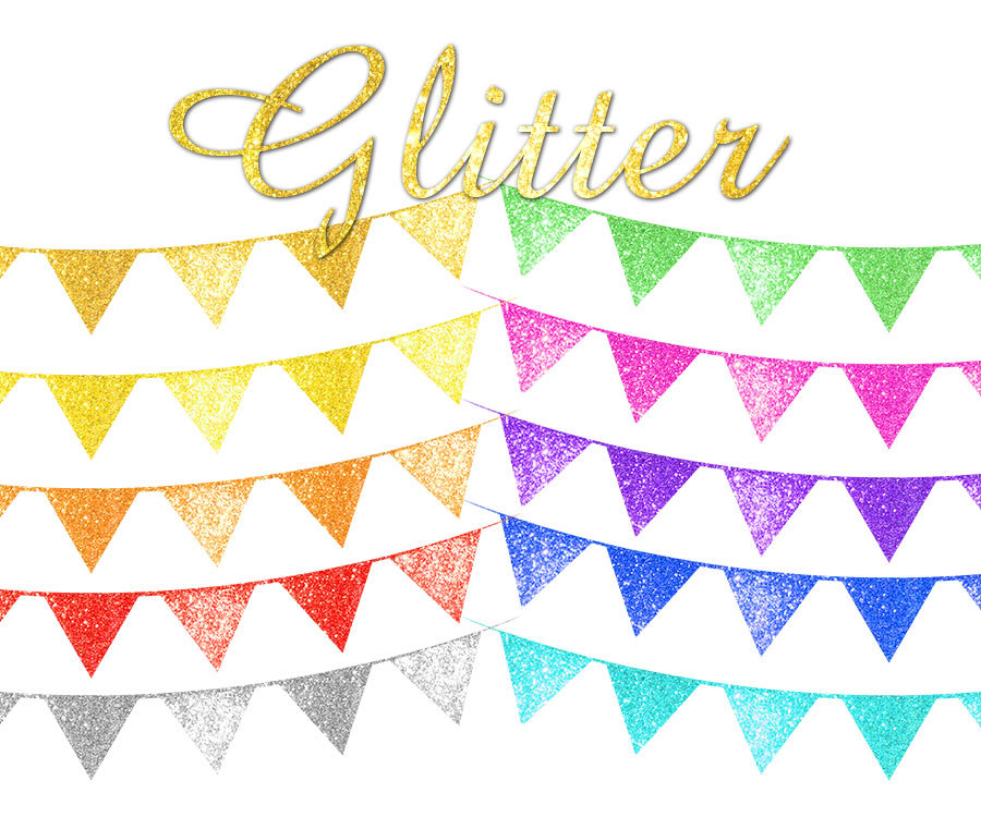 Single clipart bunting Digital is Glitter  This