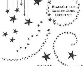 Sparkles clipart black and white #5
