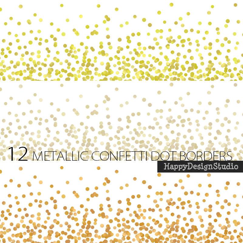 Dots clipart gold dot  confetti silver metallic gold