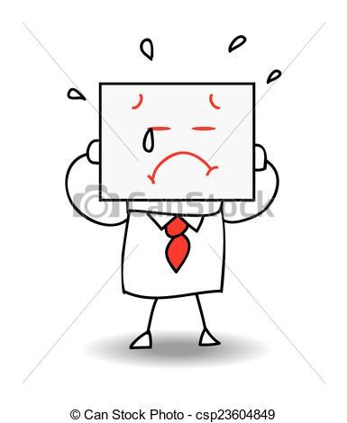 Paper clipart sad Businessman EPS Sad a Vector