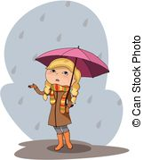 Gloomy clipart rainy day Illustration rainy grey girl person