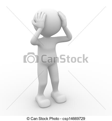 People clipart pain Stock Sad 3d Illustration pain