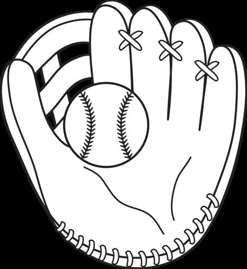 Leather clipart baseball mitt Com and white black –