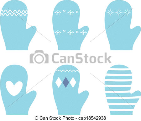 Glove clipart blue Isolated style Northern in Vector