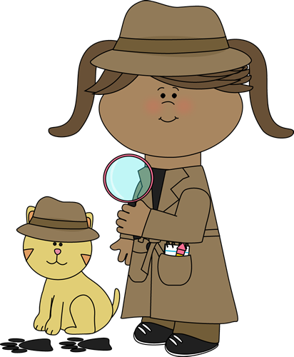 Animal clipart detective Cute following from cat clues