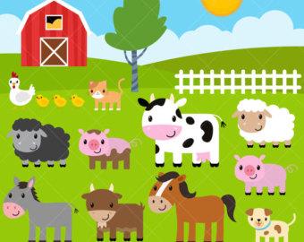 Cattle clipart barnyard animal Barnyard / / Etsy Farm