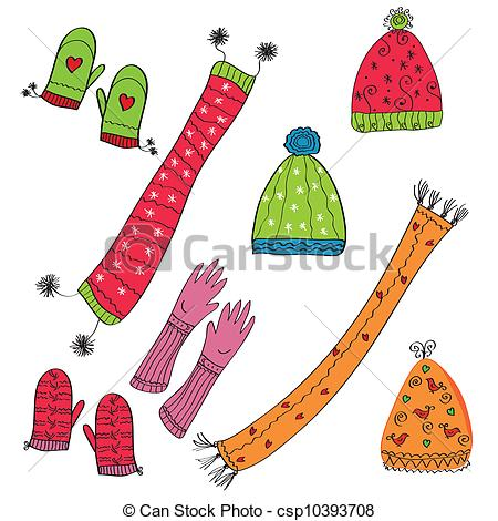 Glove clipart wool hat Winter hat hat Red Stock