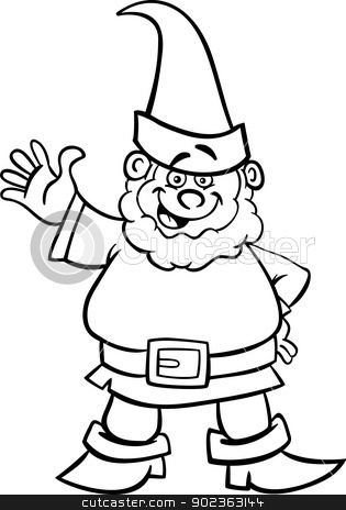 Dwarf clipart black and white Coloring cartoon Cartoon White or