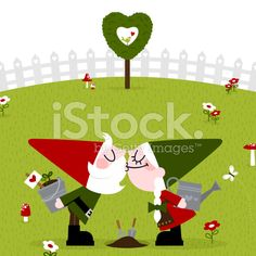 Gnome clipart couple Kiss garden Gnome love