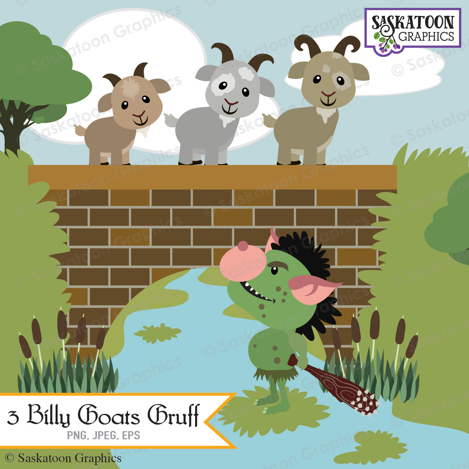 Billy Goat clipart three Clipart Goats File gruff Digital