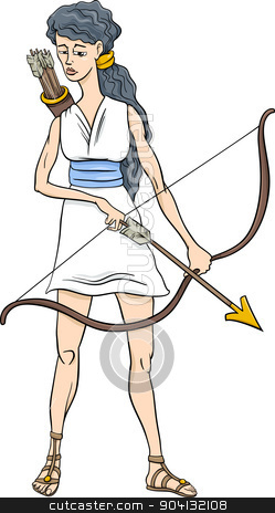 Goddess clipart cartoon Greek artemis stock goddess Similar