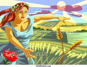 Goddess clipart demeter Vector Goddess Harvest Demeter Of