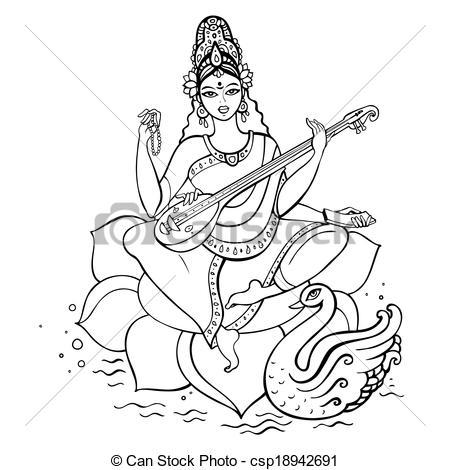 Gods clipart sarswati Vectors Saraswati Hindu Saraswati hand