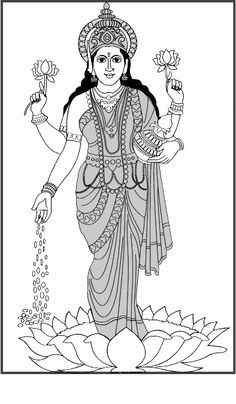 Goddess clipart devi Goddess collection coloring (400×577) Lakshmi