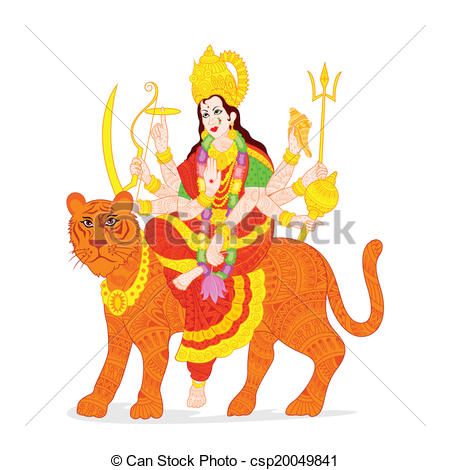 Goddess clipart durga mata Vector illustration of Goddess easy