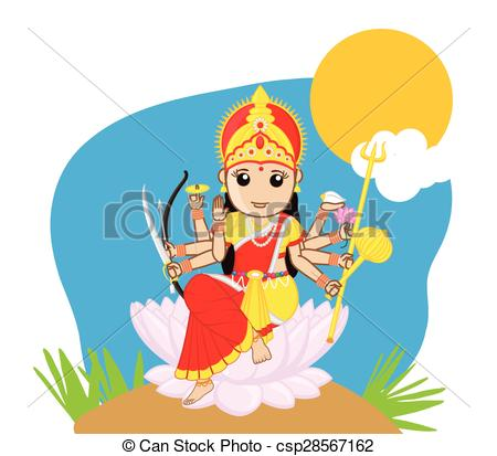 Goddess clipart durga mata Durga Mata Vector Indian of