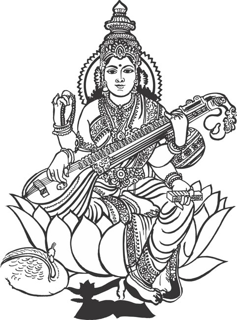 Gods clipart black and white Sarawasti Puja 2016 saraswati Orioz