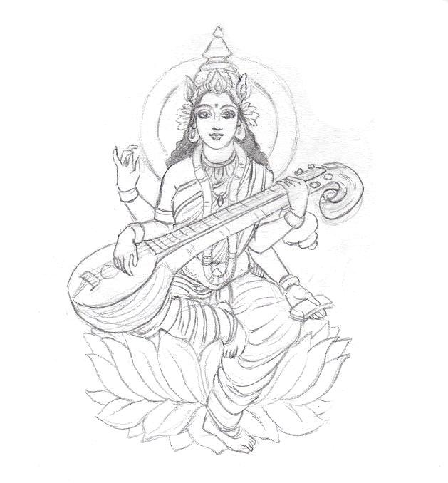 Gods clipart sarswati Free Sketch Saraswati com Clker