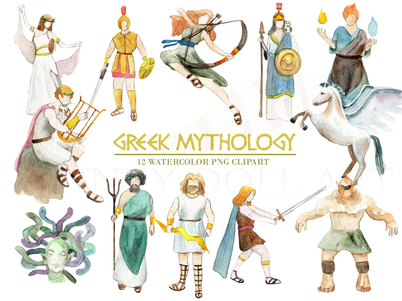 Gods clipart ancient greek Watercolor Clipart Greek Digital Mythology