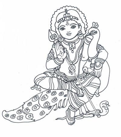 Gods clipart kartik Line Hindu Muruga  B/W