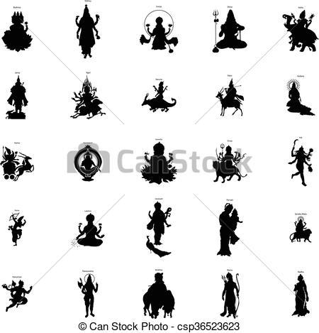 Gods clipart logo Set silhouette style style Illustration