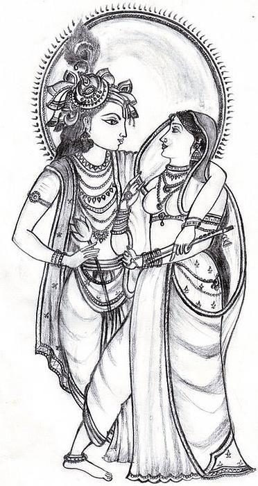 Gods clipart radha krishna Krishna drawing line Line Drawing