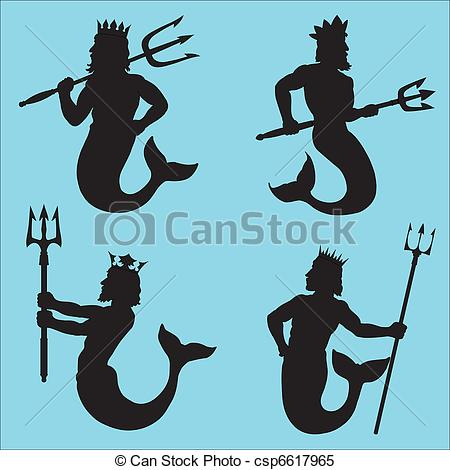 Gods clipart silhouette Neptune Vector Silhouettes Neptune the
