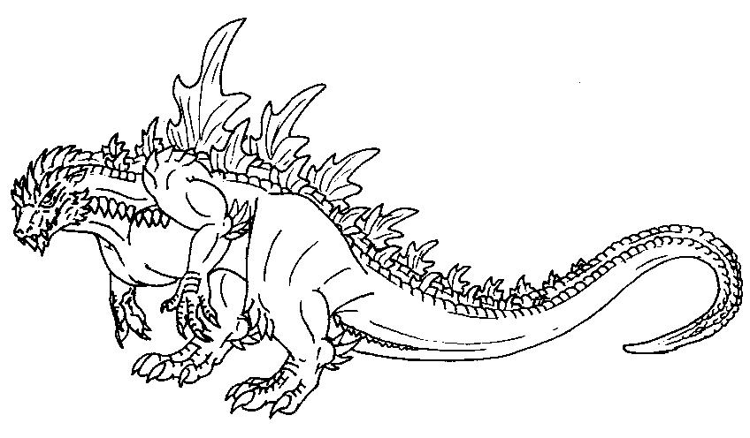 Godzilla clipart black and white Pages Print coloring  10