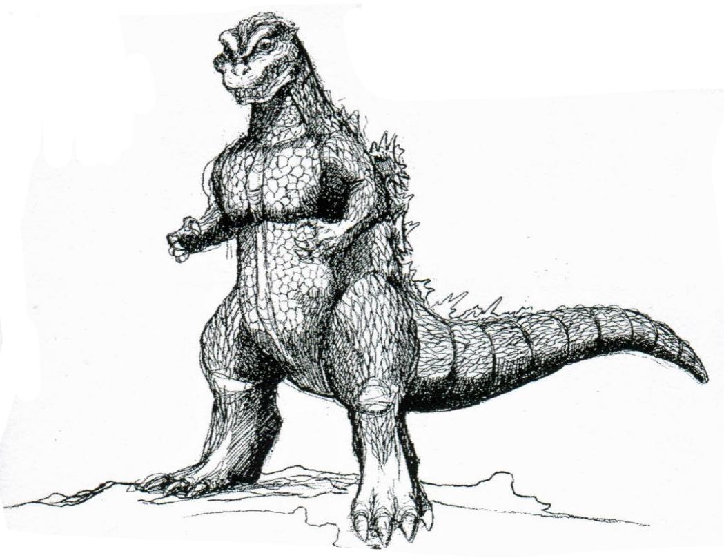 Godzilla clipart black and white On Clip Free Godzilla Clip