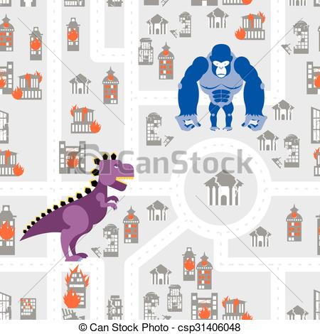 Godzilla clipart king kong Monsters destroy pattern Kong building