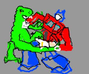 Godzilla clipart optimus prime Godzilla Bites Bites Optimus Prime