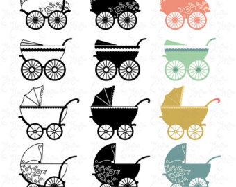 Carriage clipart baby shower Pram Stroller shower clip carriage