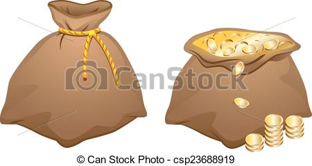Coin clipart bag gold coin Brown in Vector of coins