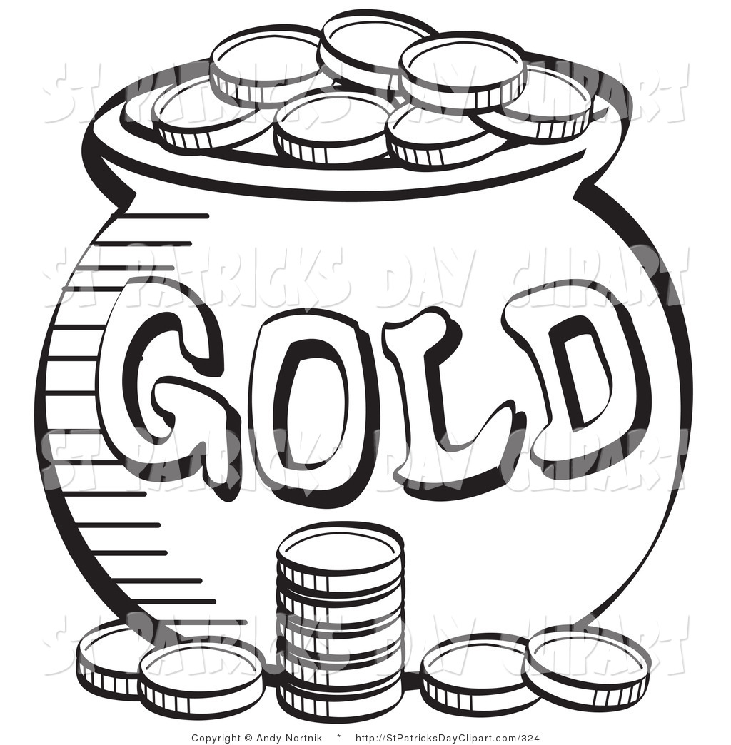 Coin clipart black and white White gold and clipart Black