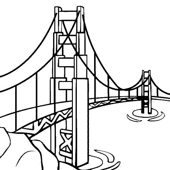 Bridge clipart coloring Coloring Golden Page #oxygenmonitor Gate