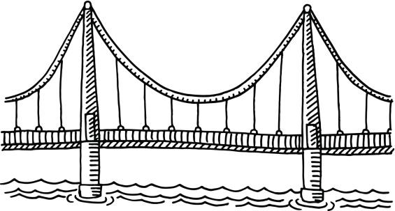 Bridge clipart black and white Suspension art Clipart clipartfest download