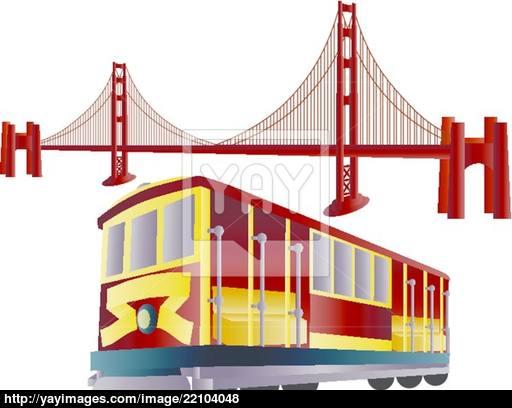 Golden Gate clipart trolley car Gate Gate vector Francisco San