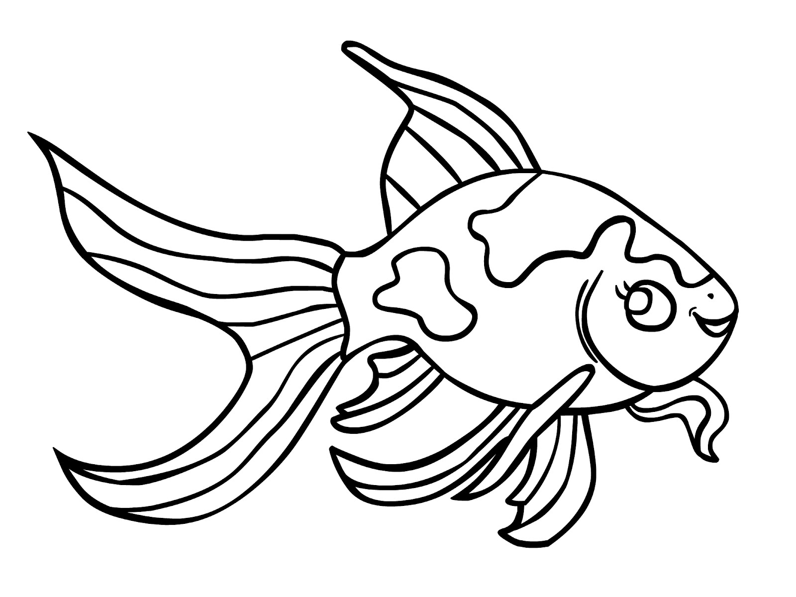 Drawn goldfish coloured fish Coloring Pages Free Free Pages