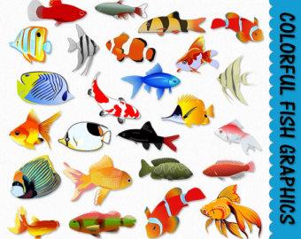 Goldfish clipart ocean fish Fish Colorful Download Digital Graphics
