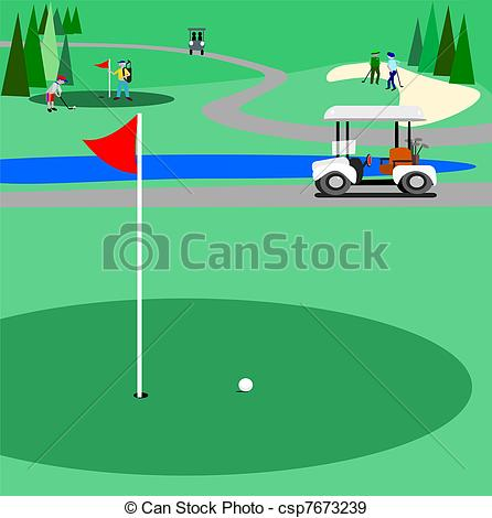 Golf Course clipart Vectors of Green course Illustration