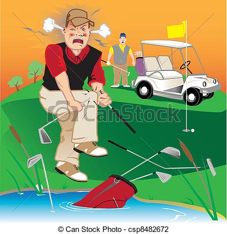 Golf Course clipart golfer Golfer breaking csp8482672 Angry Golfer