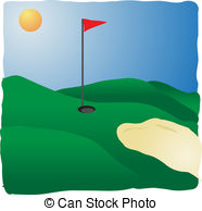 Golf Course clipart putting green Stock course and 4 sands