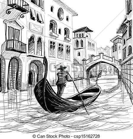 Gondola clipart canal In in Illustration Venice